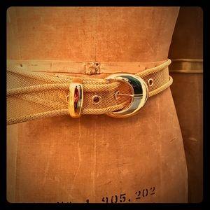 Beautiful Belt in Metallic Gold-tone Metal Mesh